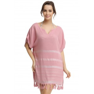 Eshma Mardini Women's Swimwear Bikini Cover-Up Beach Dress / Tunic  ( Silver - Pink )