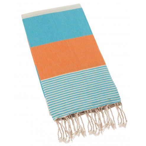 Peshtemal Turkish Towel Beach Cover Up - Blue-Orange