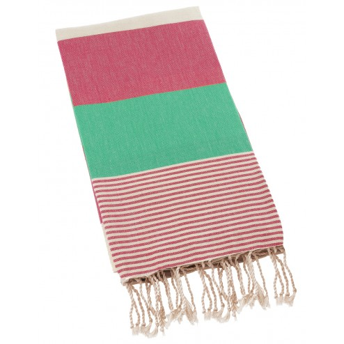 Peshtemal Turkish Towel Beach Cover Up - Pink-Turquoise