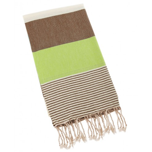 Peshtemal Turkish Towel Beach Cover Up - Brown-Green