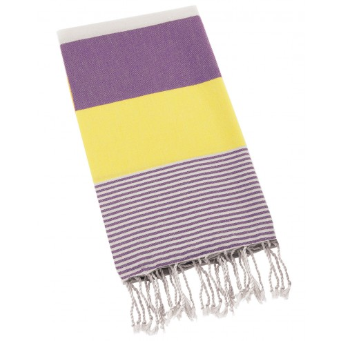 Peshtemal Turkish Towel Beach Cover Up - Purple-Yellow