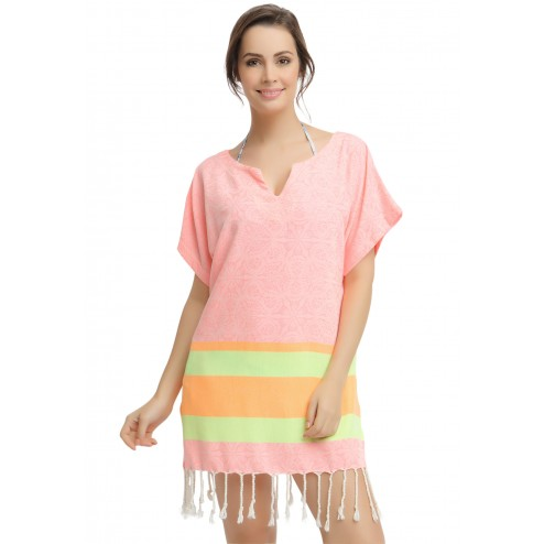 Eshma Mardini Women's Swimwear Bikini Cover-Up Beach Dress / Tunic  ( Neon Pink - Yellow - Orange )