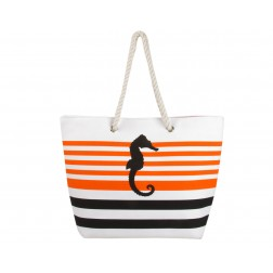 Sea Horse Canvas Tote Bag - Orange