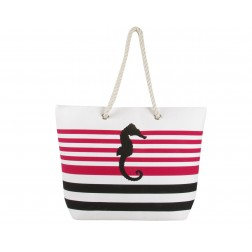 Sea Horse Canvas Tote Bag - Fuchsia