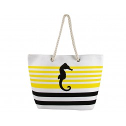 Sea Horse Canvas Tote Bag - Yellow