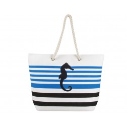 Sea Horse Canvas Tote Bag - Blue