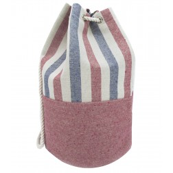 Striped Canvas Bucket Bag - Blue - Red