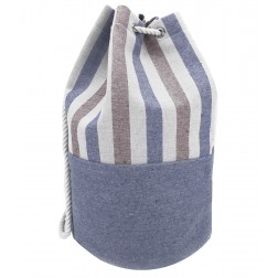 Striped Canvas Bucket Bag -  Blue - Brown