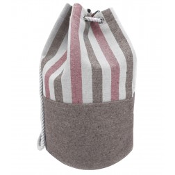 Striped Canvas Bucket Bag -  Red - Brown