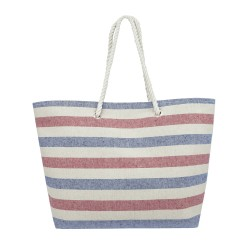 Striped Canvas Tote Bag - Blue - Red