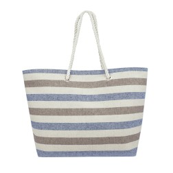 Striped Canvas Tote Bag - Blue - Brown