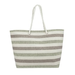 Striped Canvas Tote Bag - Green - Brown