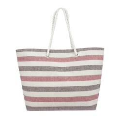 Striped Canvas Tote Bag - Red - Brown