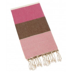 Peshtemal Turkish Towel Beach Cover Up - Dark Pink-Brown