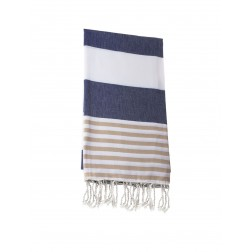 Peshtemal towel cover-up,  - Navy Blue - Brown