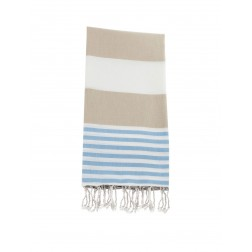 Peshtemal towel cover-up,  - Beige - Blue
