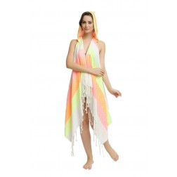 Eshma Mardini Swimwear Bikini Hooded Cover-Up Beach Dress - Hoodie ( Neon Pink - Orange - Yellow )
