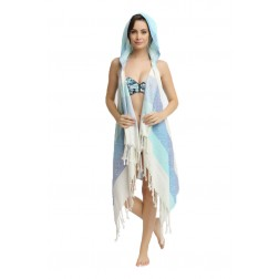 Eshma Mardini Swimwear Bikini Hooded Cover-Up Beach Dress - Hoodie ( Navy Blue - Blue - Light Blue)
