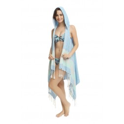 Eshma Mardini Swimwear Bikini Hooded Cover-Up Beach Dress - Hoodie ( Blue - Gray )