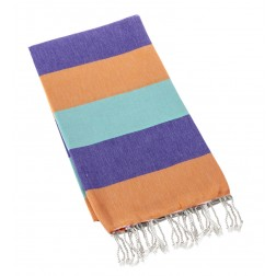 Eshma Mardini Turkish Cotton Peshtemal for Beach Shower Bath - Purple - Orange - Aqua