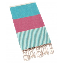 Peshtemal Turkish Towel Beach Cover Up - Pink-Blue