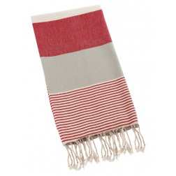 Peshtemal Turkish Towel Beach Cover Up - Red-Gray