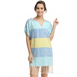 Eshma Mardini Women's Swimwear Bikini Cover-Up Beach Dress / Tunic  ( Light Blue - Blue - Yellow )