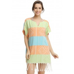 Eshma Mardini Women's Swimwear Bikini Cover-Up Beach Dress / Tunic  ( Green - Orange - Light Blue )