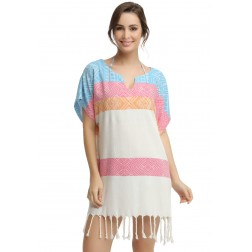 Eshma Mardini Women's Swimwear Bikini Cover-Up Beach Dress / Tunic  ( Orange - Pink - Light Blue )