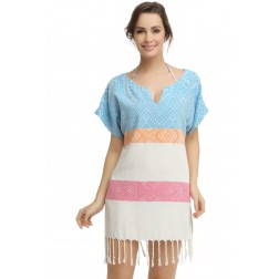 Eshma Mardini Women's Swimwear Bikini Cover-Up Beach Dress / Tunic  ( Purple - Orange - Light Blue )