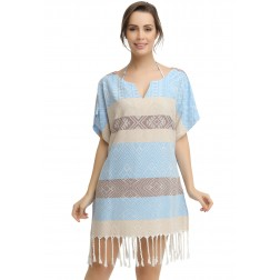 Eshma Mardini Women's Swimwear Bikini Cover-Up Beach Dress / Tunic  ( Beige - Light Blue - Brown )