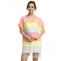 Eshma Mardini Women's Swimwear Bikini Cover-Up Beach Dress / Tunic  ( Neon Pink - Orange - Yellow )